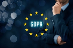 GDPR (general data protection regulation) concept. Businessman or IT technologist think about GDPR implementation for his company.